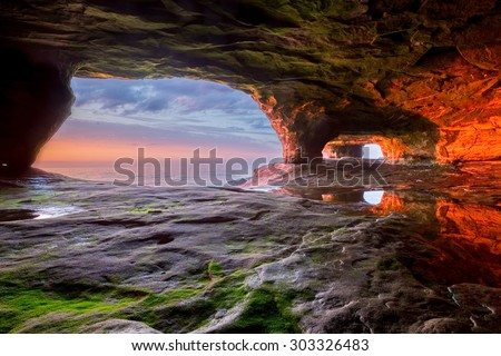 Lake Superior Sea Cave at Sunset - The Pictured Rocks area near Munising Michigan has many interesting formations along it's shoreline.
