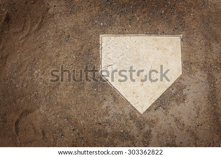 Home plate on baseball field with copy space Royalty-Free Stock Photo #303362822