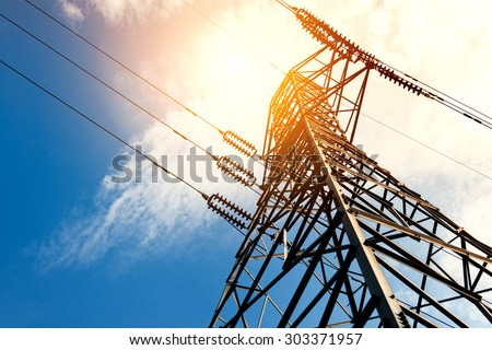 High voltage post or High voltage tower Royalty-Free Stock Photo #303371957