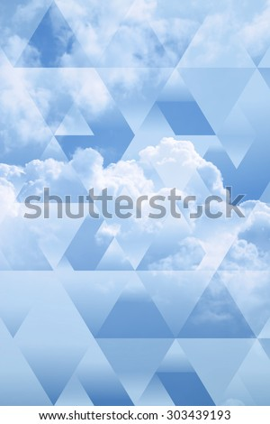 abstract sky geometric background with polygons, triangles and cumulus clouds,  polygonal cloudscape backdrop, op art