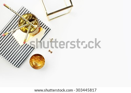 Header website or Hero website, view table gold accessories office items