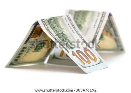 hundred dollar bill on a white background #303476192
