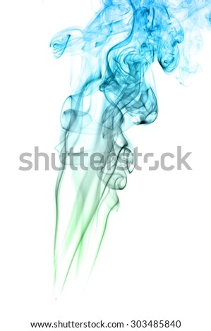 Abstract green and blue smoke on white background, Light blue background,green and blue ink background #303485840