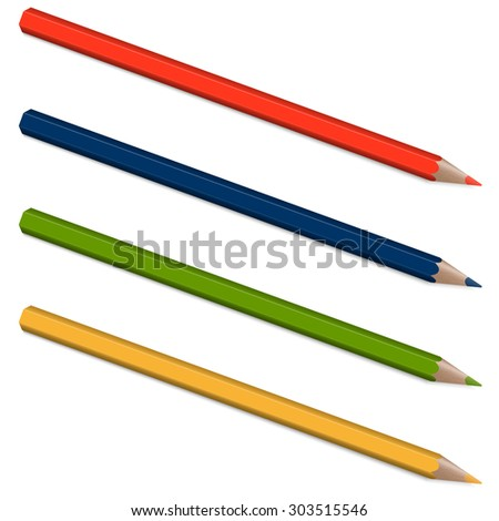 four pencils with shadow in colors blue, red, green and yellow #303515546