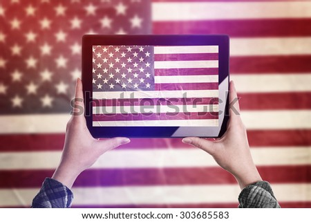 Person Taking Picture of United States of America Flag with Digital Tablet Computer, Vintage Tone Retro Effect
