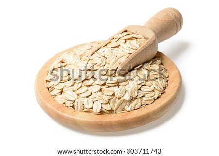 uncooked oatmeal in the plate, (large depth of field, taken with tilt shift lens) #303711743