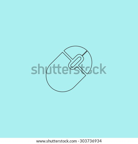 Computer mouse. Outline simple flat icon isolated on blue background #303736934