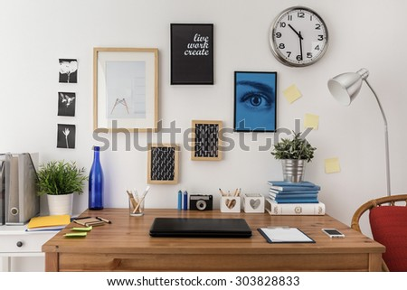 Laptop on the desk in modern office