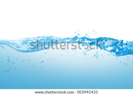 Water and air bubbles over white background #303945431