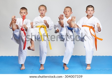 Boys and girl are beaten kick mae-geri #304007339