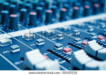 audio mixer with shallow depth of field - blue toned #30420520