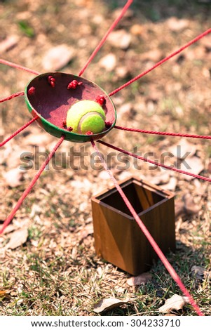 Coconut shell game with filter effect retro vintage style, Team building   #304233710