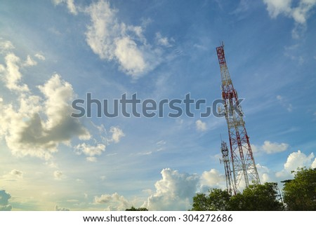 Telecommunication mast TV antennas with blue sky in the morning #304272686
