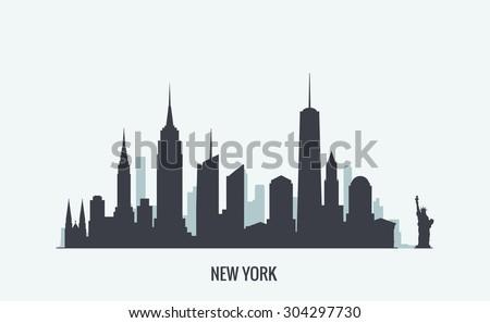 New York skyline silhouette Royalty-Free Stock Photo #304297730