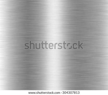 Metal background or texture of brushed steel plate with reflections  #304307813