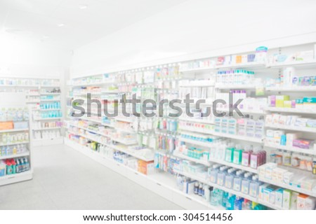 Pharmacy interior with blurred background Royalty-Free Stock Photo #304514456
