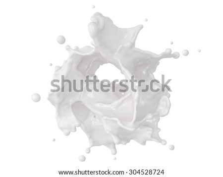 3d abstract dynamic milk splashing clip art, isolated white liquid design element