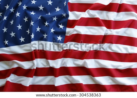 Closeup of ruffled American flag #304538363