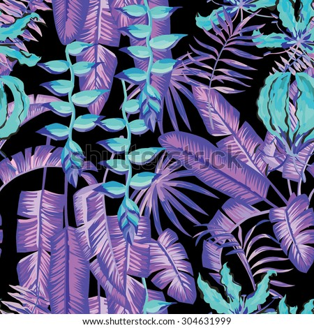 blue palm leaves and flowers painting tropical seamless background #304631999