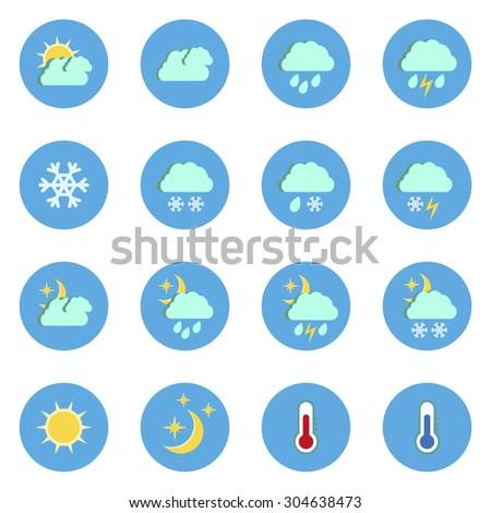 Set of flat weather icons isolated on white background.Vector illustration #304638473