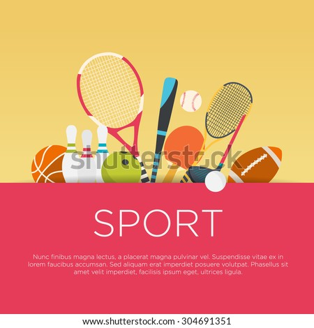 Flat design sport concept. Sports equipment background. Royalty-Free Stock Photo #304691351