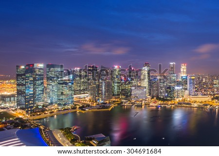 SINGAPORE - May 23, 2015: Singapore river and downtown at night #304691684