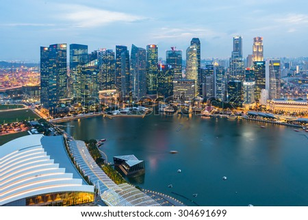 SINGAPORE - May 23, 2015: Singapore river and downtown at night #304691699