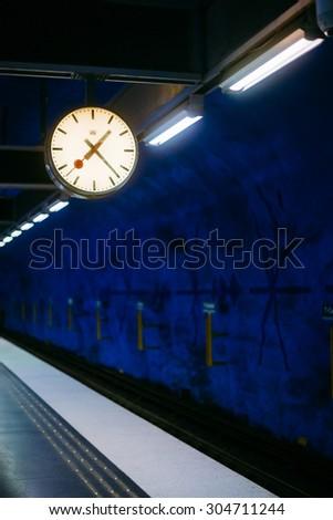 Modern Stockholm Metro Train Station in Blue colors, Sweden. Underground #304711244