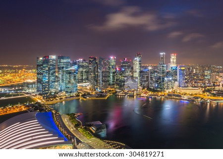 SINGAPORE - May 23, 2015: Singapore river and downtown at night #304819271