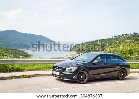 Hong Kong, China May 5 2015 : Mercedes-Benz CLA Shooting Brake 2015 Test Drive on May 5 2015 in Hong Kong. #304876337