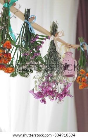 Various herbs and flowers drying on thong on light background #304910594