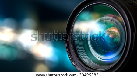 Camera lens with lense reflections. Royalty-Free Stock Photo #304955831