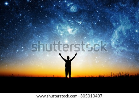 Space and man. Elements of this image furnished by NASA. #305010407