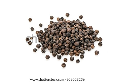 black peppers on the white background #305028236