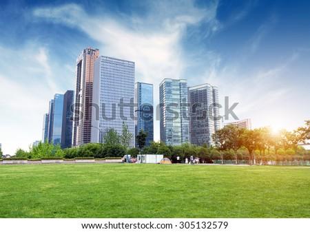 Hangzhou, Zhejiang, China, leisure and high-rise buildings of the public. Royalty-Free Stock Photo #305132579