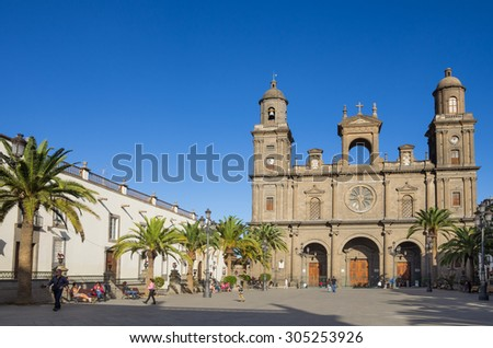 LAS PALMAS, GRAN CANARIA, CANARY ISLANDS - JANUARY 03, 2014: The Cathedral of Saint Ana situated in the old district Vegueta in Las Palmas de Gran Canaria, Spain #305253926