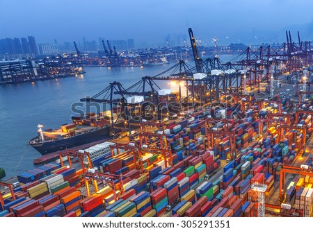 industrial port with containers #305291351