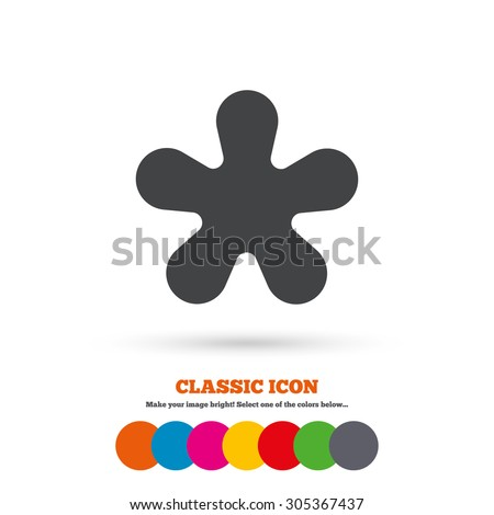 Asterisk round footnote sign icon. Star note symbol for more information. Classic flat icon. Colored circles. Vector #305367437