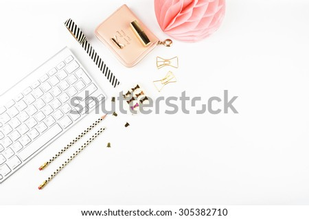 Table view office items, white background mock up, woman desk. Flat lay. #305382710