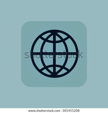 Image of globe symbol in square, on pale blue background