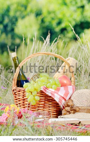 Picnic basket with hat and book. Holiday vacation concept #305745446