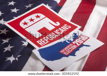 Republican election on textured American flag #305852192