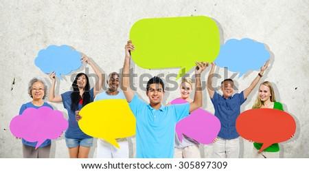 Diversity People Holding Colorful Speech Bubbles Concept #305897309