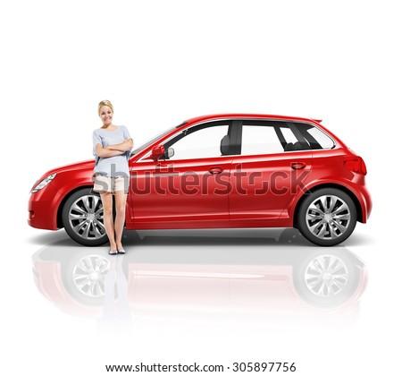 Car Vehicle Hatchback Transportation 3D Illustration Concept #305897756