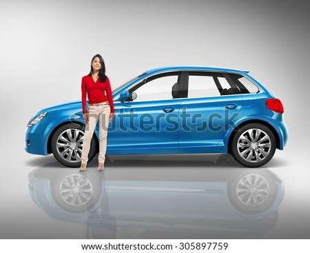 Car Vehicle Hatchback Transportation 3D Illustration Concept #305897759