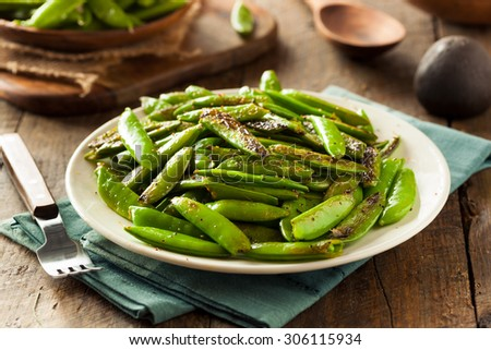 Homemade Sauteed Sugar Snap Peas Ready to Eat #306115934