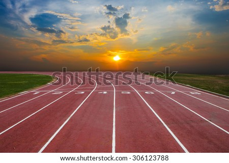 Athlete Track or Running Track with nice scenic #306123788