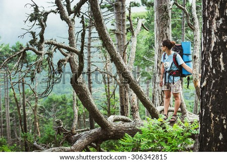 Caucasian hiker woman on trek in mountains with backpack living a healthy active lifestyle. Hiker girl on nature landscape hike in Crimea. #306342815
