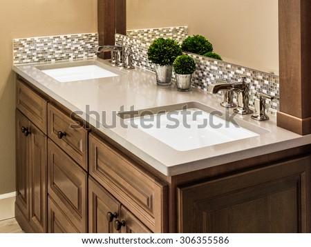 Master Bathroom Sinks and Vanity in Luxury Home