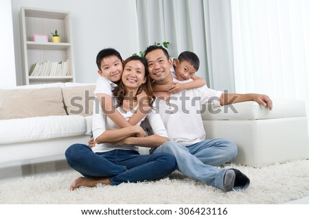 Indoor portrait of asian mixed race family #306423116